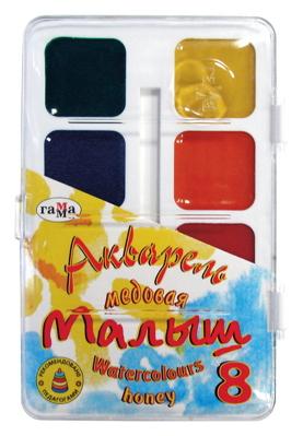 Акварель медовая 8 цветов Малыш без кисти в пластиковой упаковке 581376