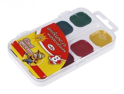 Акварель медовая 8 цветов Юный художник без кисти в пластиковой упаковке 581390