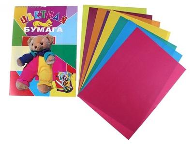 Бумага цветная 8 листов 8 цветов А4 Куклы мелованый картон 607077