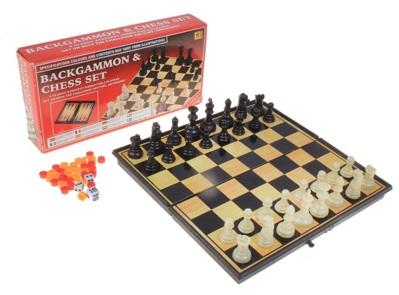 Игра настольная 3 в 1 (шашки, шахматы, нарды) в кор 19х19см 536136S
