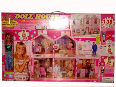 Дом для барби со светом, музыкой и куклой 138 предметов