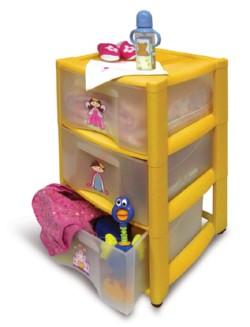 Комод  для игрушек на колесиках (3 ящика)