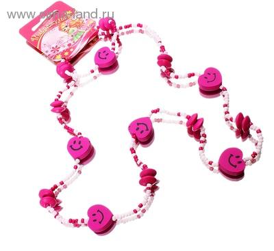 Бусы Выбражулька розовые сердечки 564120